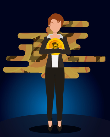 business woman holding bitcoin in hands cryptocurrency vector illustration