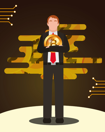 businessman with bitcoin virtual currency vector illustration