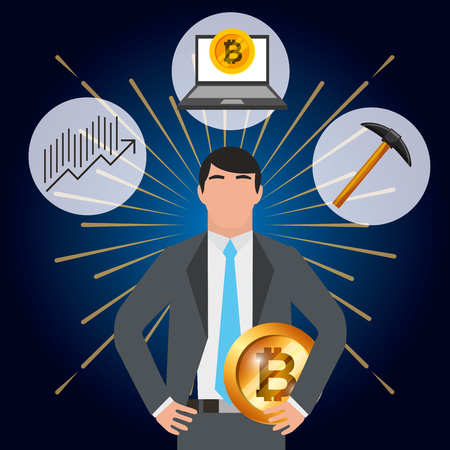 businessman bitcoin pickaxe laptop and financial diagram vector illustration