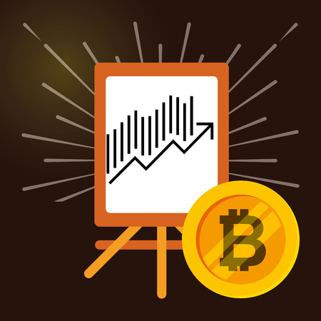 statistics diagram in board with bitcoin economy vector illustration