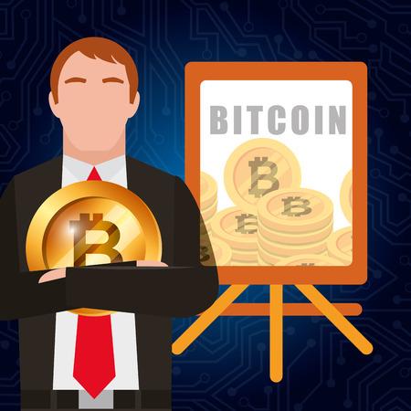 businessman bitcoin and board presentation report vector illustration Ilustrace