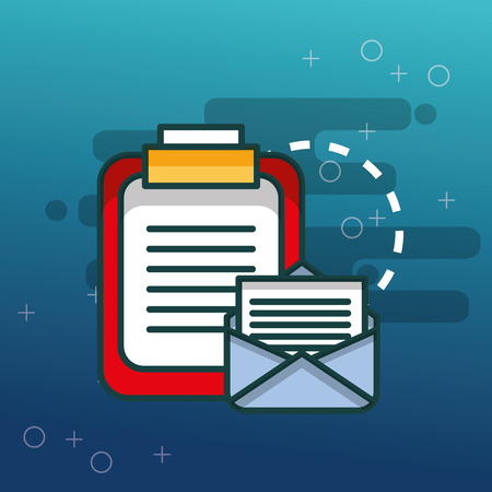clipboard documents email communication office vector illustration