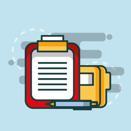 clipboard report folder file paper pen office vector illustration