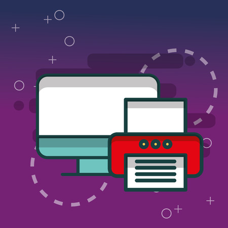 computer and printer device technology office vector illustration Illustration
