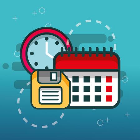 calendar floppy disk and clock office vector illustration 向量圖像