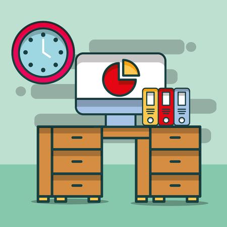 computer chart report binders clock desk furniture office vector illustration
