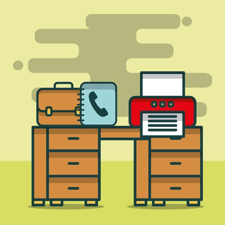 printer phone book business briefcase on desk office vector illustration