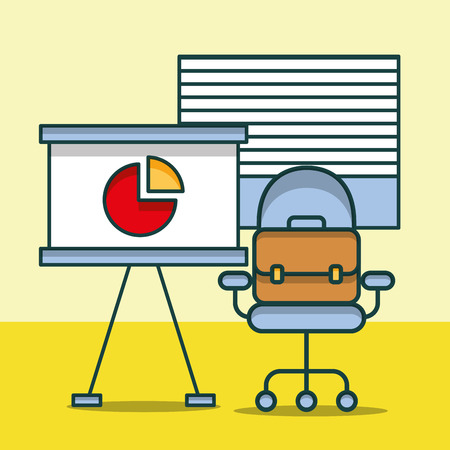 board report chart business briefcase on chair office vector illustration