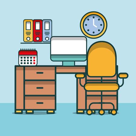 computer calendar clock shelf binders clock desk furniture office vector illustration Illustration