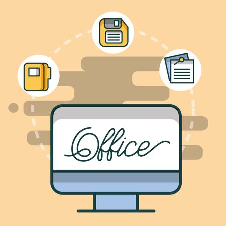 computer folder floppy and paper office vector illustration