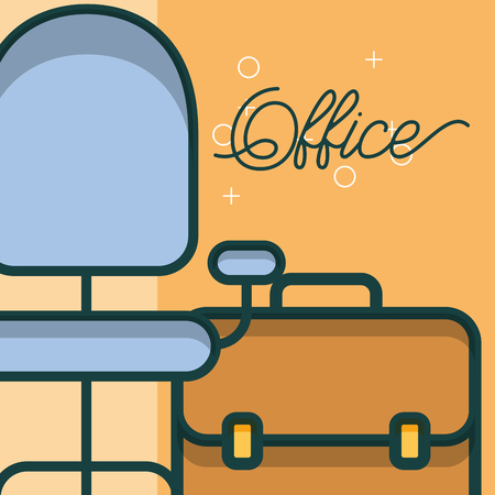 business briefcase chair furniture office vector illustration