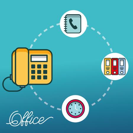 telephone clock binders folder office vector illustration