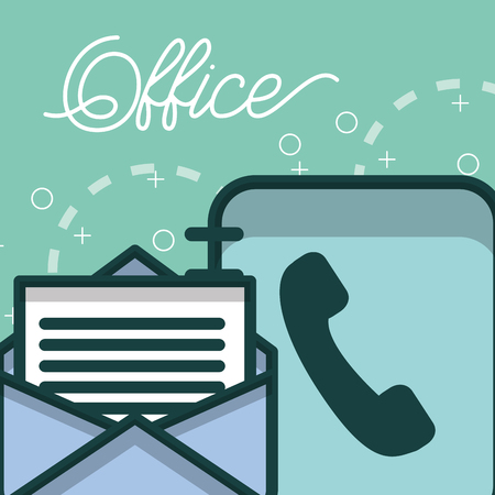 phone book and email letter paper office vector illustration Çizim