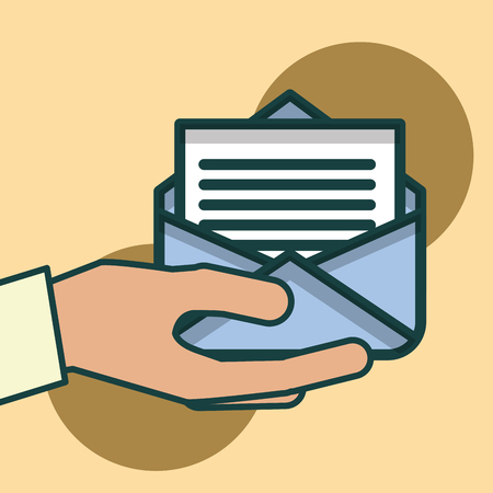 hand holding envelope message letter office vector illustration