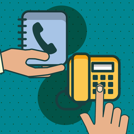 hands with telephone and address book office vector illustration