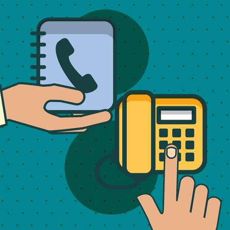 mains avec téléphone et carnet d & # 39; adresses illustration vectorielle de bureau