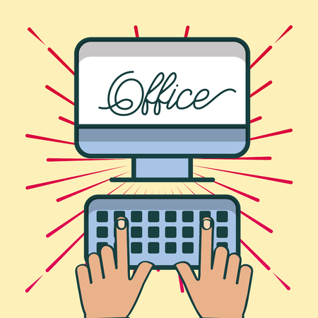 hands typing in keyboard computer office vector illustration