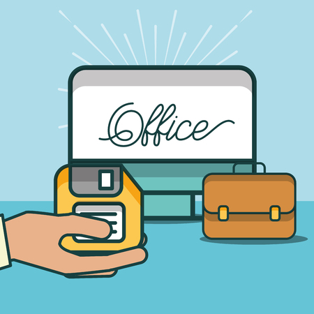 hand holding floppy computer and business briefcase office vector illustration