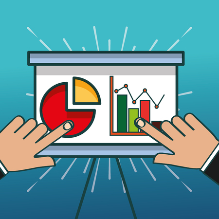 hands pointing board report financial chart office vector illustration Çizim