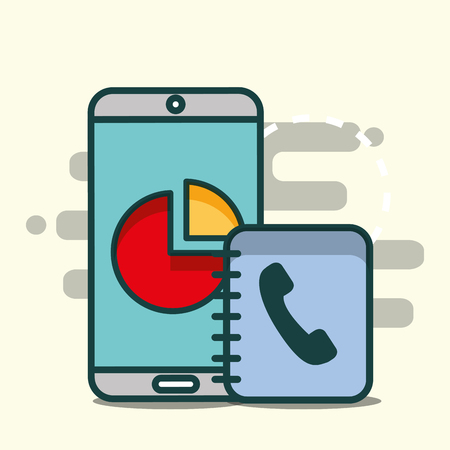 smartphone with statistic graph and phone book office vector illustration  イラスト・ベクター素材