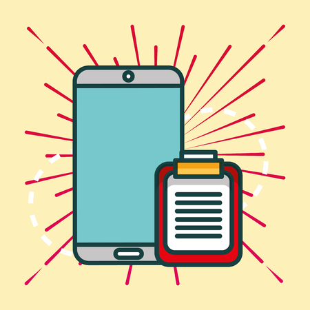 smartphone and clipboard report office vector illustration 일러스트
