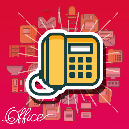 telephone device call communication office vector illustration