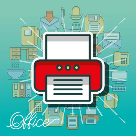print device technology copy paper office vector illustration Çizim