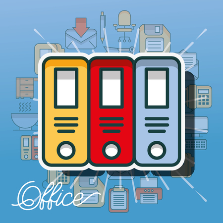 binders document organization archive office vector illustration