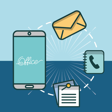 smartphone email phone book notes office vector illustration