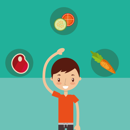 young boy stretching and food healthy vector illustration Illustration