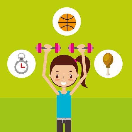 cute girl training dumbbell sport fitness vector illustration Ilustração