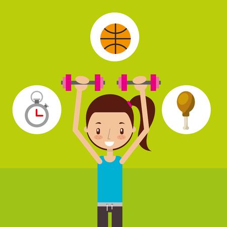 cute girl training dumbbell sport fitness vector illustration Illustration