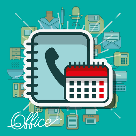 calendar and phone book contacts office vector illustration 向量圖像