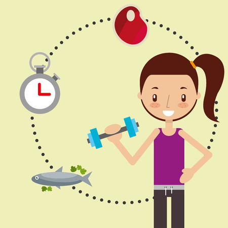 cute girl doing fitness exercise with dumbbell healthy vector illustration