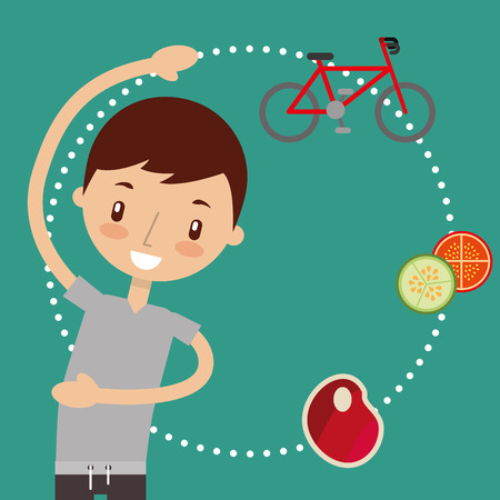 cute boy training sport exercise and food healthy vector illustration Illustration