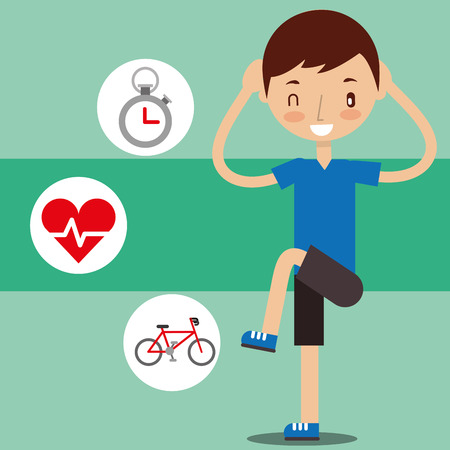 cute boy training with dumbbell sport exercise healthy vector illustration Foto de archivo - 103672809