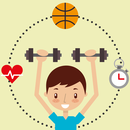 cute boy training with dumbbell sport exercise healthy vector illustration