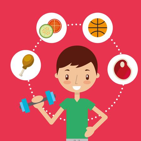 cute boy training sport exercise healthy food vector illustration Stock Illustratie