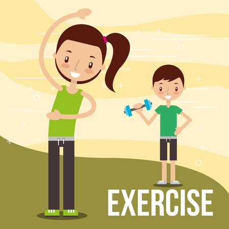 kids practicing exercise healthy lifestyle vector illustration Archivio Fotografico - 103672815