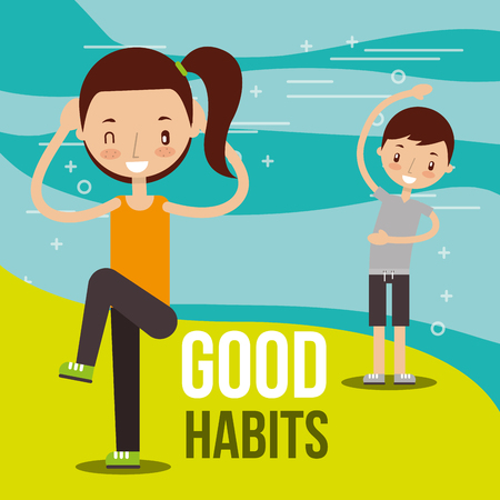 kids practicing exercise healthy lifestyle vector illustration