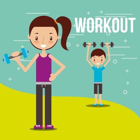 kids practicing exercise healthy lifestyle vector illustration Archivio Fotografico - 103673418