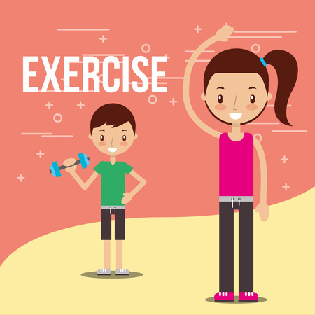 kids practicing exercise healthy lifestyle vector illustration Archivio Fotografico - 103673421