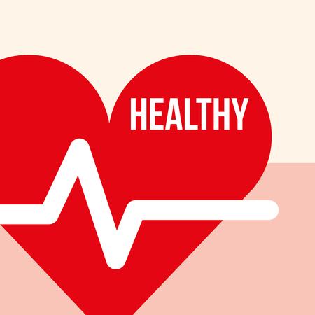 heart beat pulse healthy lifestyle vector illustration Stock Vector - 103673422