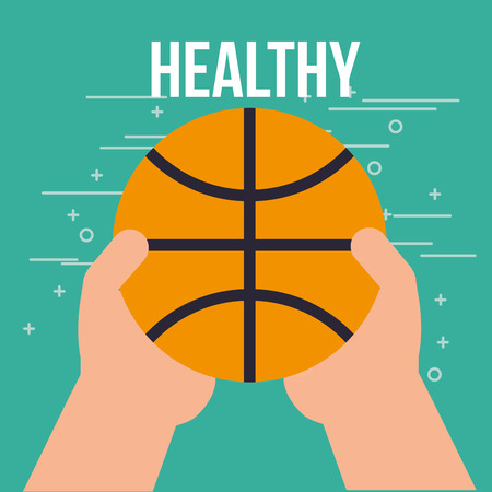 hands holding basketball ball sport healthy vector illustration