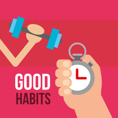 hands with dumbbell and stopwatch good habits vector illustration