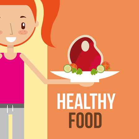 girl with meat vegetable food healthy vector illustration