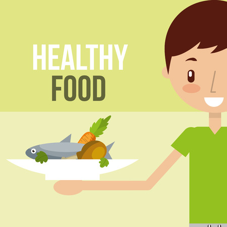 boy holding fresh fish vegetables on dish food healthy vector illustration