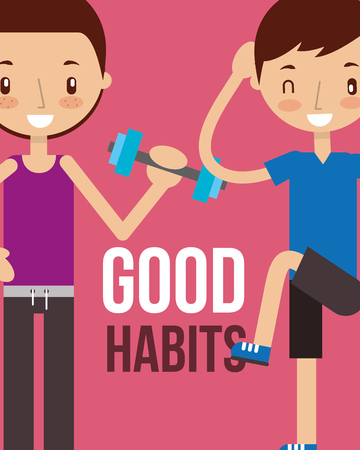 boy and girl workout partners healthy lifestyle good habits vector illustration Illustration
