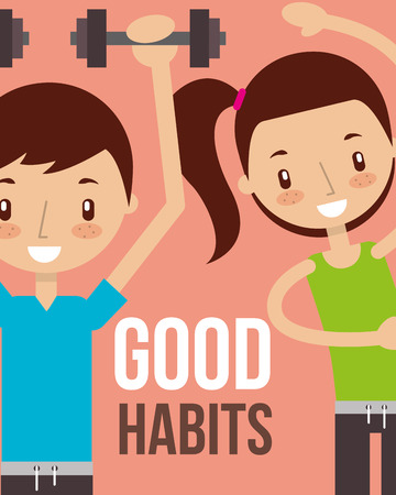 boy and girl workout partners healthy lifestyle good habits vector illustration Çizim