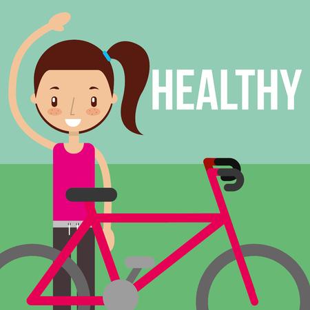 girl training cardio with bike healthy sport vector illustration Illustration